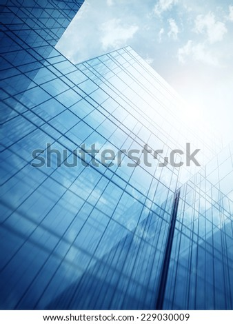 Skyscraper's exterior with blue glass walls