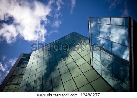 Skyscraper wide angle, polarized filter - stock photo