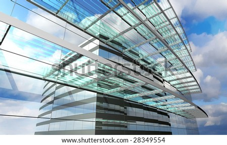 Skyscraper with clouds reflection - stock photo