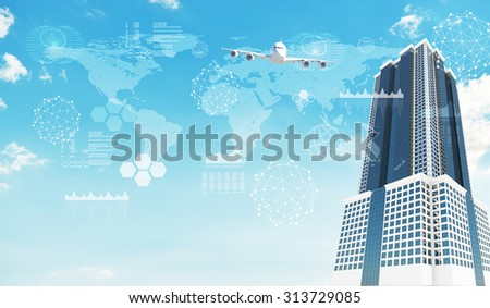 Skyscraper with molecule and graphs on blue sky background