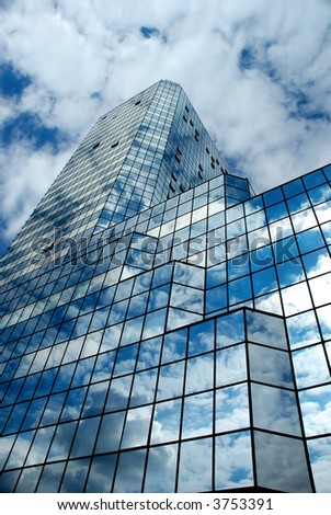 skyscraper with sky reflection - stock photo