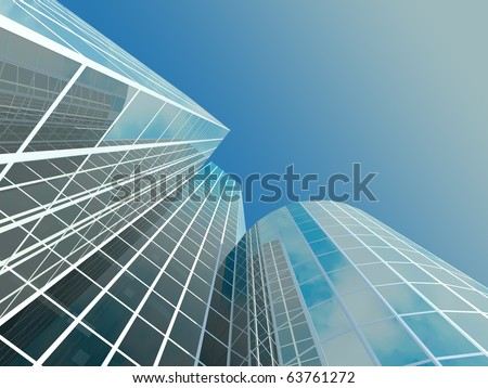 Skyscraper with tinted windows on the background of a cloudless sky. Some windows are transparent - stock photo
