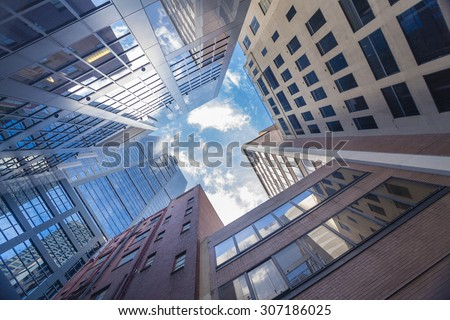 Skyscrapers against blue sky in downtown Melbourne, Australia - stock photo