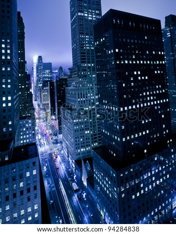 Skyscrapers along 42nd street in New York City - stock photo
