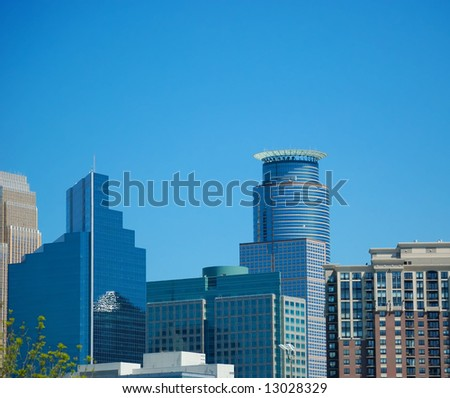 Skyscrapers and buildings in downtown Minneapolis Minnesota - stock photo