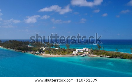 skyscrapers and office building in the city of miami florida against the ocean background - stock photo