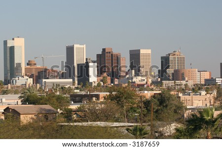 Skyscrapers and Single Family Houses in Downtown of Phoenix, AZ - stock photo