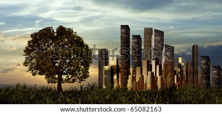 Skyscrapers and the single tree - stock photo