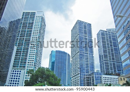 skyscrapers and tower blocks in the city
