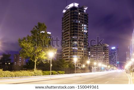 skyscrapers area in night city. Barcelona, Catalonia - stock photo