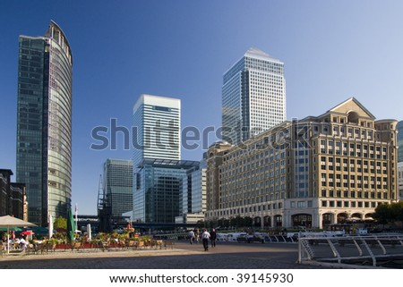 Skyscrapers at Canary Wharf, London, UK - stock photo
