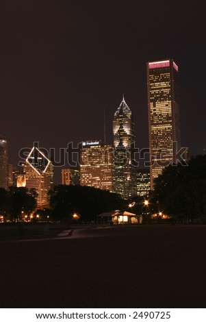 Skyscrapers at night in Chicago downtown, Illinois - stock photo