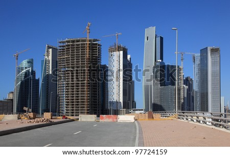 Skyscrapers at the Business Bay in Dubai, United Arab Emirates - stock photo
