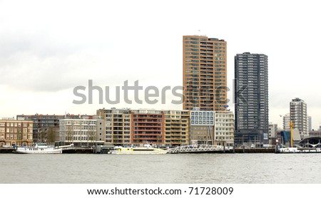 skyscrapers by the riverside - stock photo
