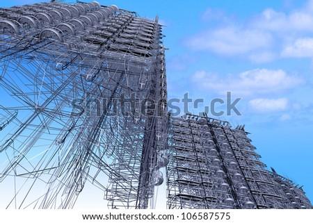 Skyscrapers.3d render - stock photo