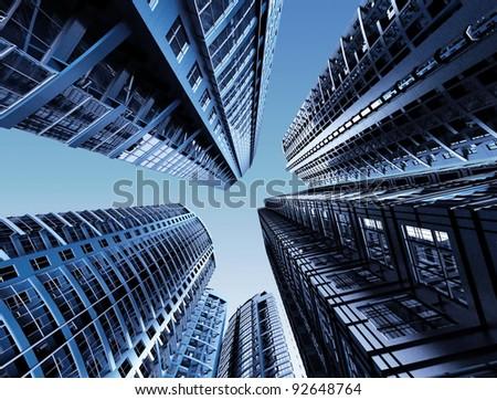 Skyscrapers.3d render. - stock photo