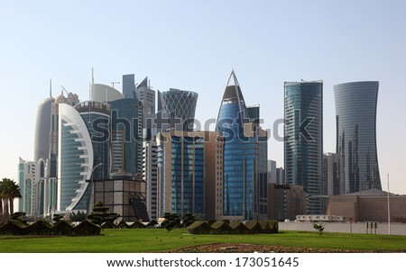 Skyscrapers downtown in Doha, Qatar, Middle East - stock photo