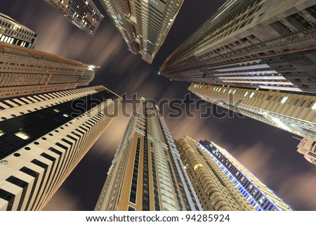 Skyscrapers downtown in Dubai, United Arab Emirates - stock photo