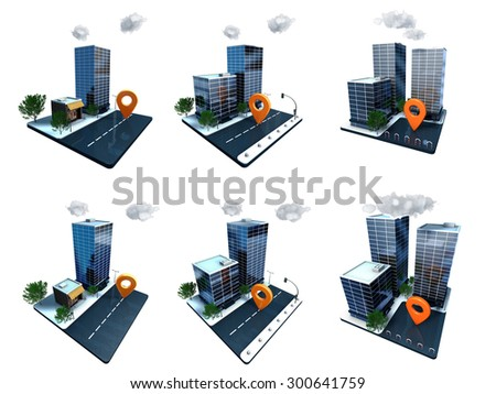 Skyscrapers icons - stock photo