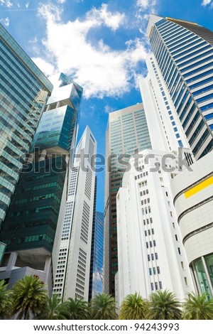 Skyscrapers in business district of Singapore - stock photo