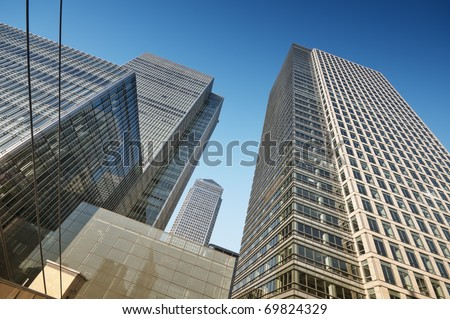Skyscrapers in Canary Wharf area , London - stock photo