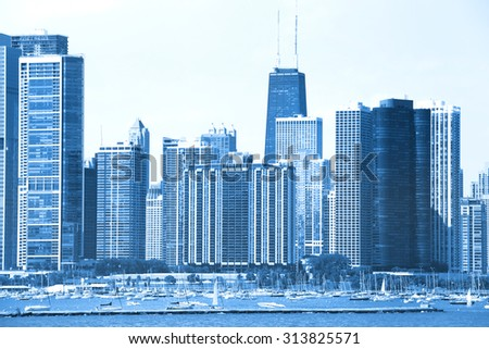 Skyscrapers in Chicago blue color tone - stock photo