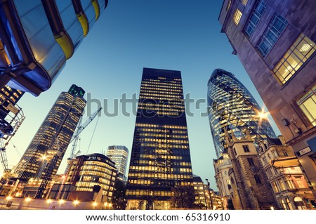 Skyscrapers in City of London,( Lloyds of London, Tower 42, Aviva and the Gherkin) - stock photo