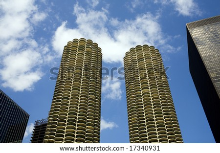 Skyscrapers in downtown Chicago Illinois - stock photo