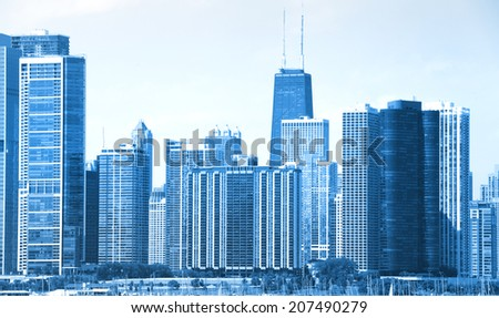 Skyscrapers in downtown Chicago in Monochrome color - stock photo