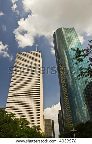 Skyscrapers in downtown Houston, TX, including what once was the Enron building.