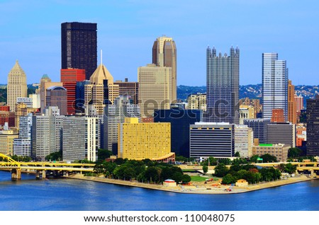 Skyscrapers in downtown PIttsburgh, Pennsylvania, USA. - stock photo