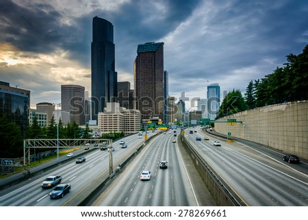 Skyscrapers in downtown Seattle and I-5, in Seattle, Washington. - stock photo