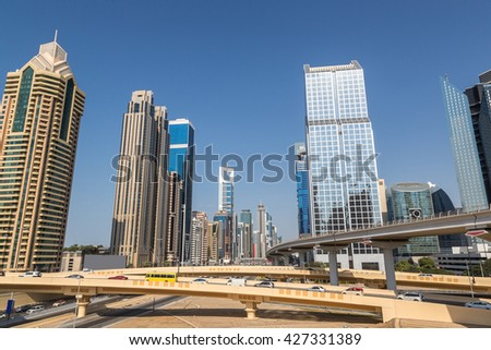 Skyscrapers in Dubai in a summer day, United Arab Emirates