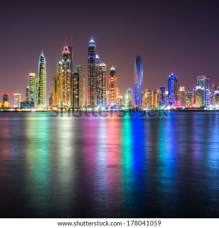 Skyscrapers in Dubai Marina. UAE - stock photo