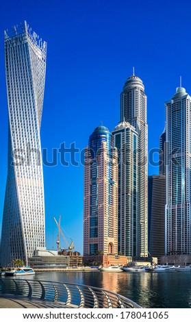 Skyscrapers in Dubai Marina. UAE - stock photo