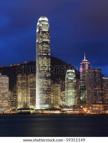 Skyscrapers in Hong Kong at dusk - stock photo