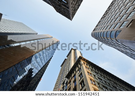 skyscrapers in Hongkong. Looking up - stock photo