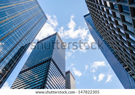 Skyscrapers in Manhattan, New York City - stock photo