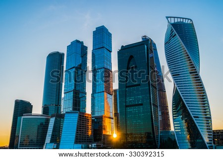 Skyscrapers in Moscow City at sunset, Russia - stock photo