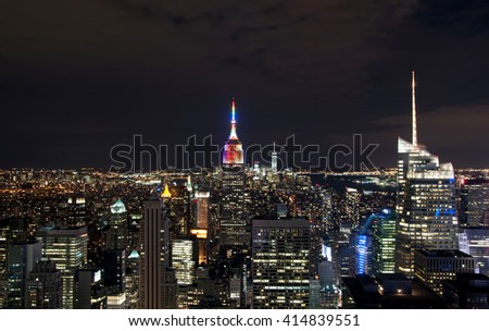 Skyscrapers in New York City by night, USA - stock photo