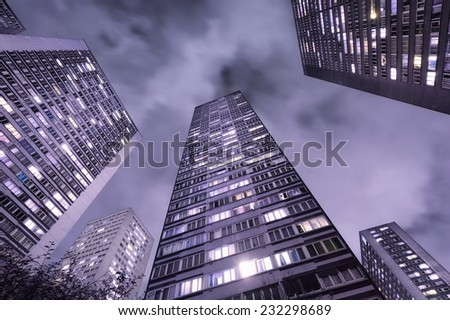 Skyscrapers in Paris, France, at night - stock photo