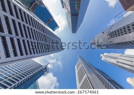 Skyscrapers in Singapore city - stock photo