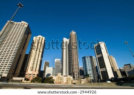 skyscrapers in sydney, weird perspective - wide angel lens - stock photo