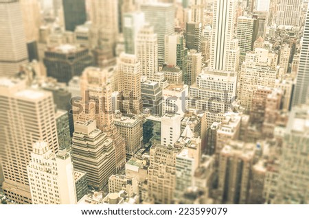 Skyscrapers in the business district of New York City -  Aerial view of modern buildings of the skyline in downtown Manhattan - Tilted shift defocusing - stock photo