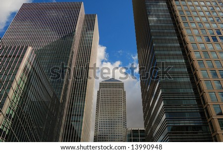 Skyscrapers in the Canary wharf financial center in London - stock photo