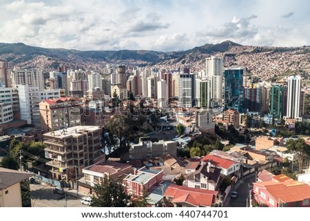 Skyscrapers in the center of La Paz, Bolivia - stock photo