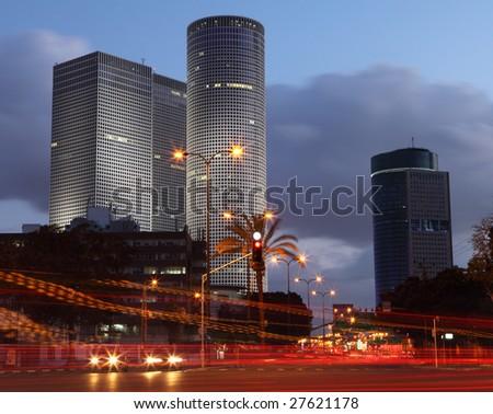 Skyscrapers in the center of Tel Aviv - stock photo