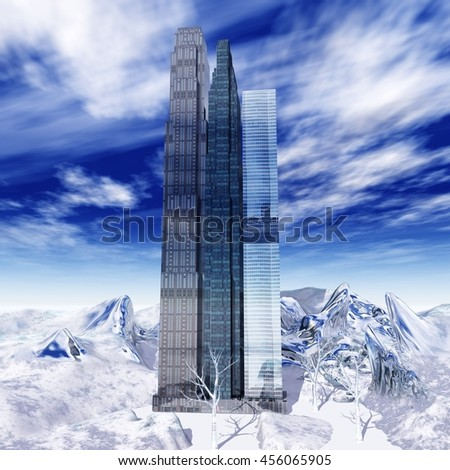 skyscrapers in the snow. a fantastic city. city in ice, snow city. 3d rendering - stock photo