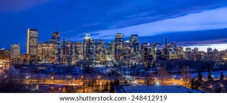 Skyscrapers in the urban core at dusk on January 24, 2015 in Calgary, Alberta Canada - stock photo