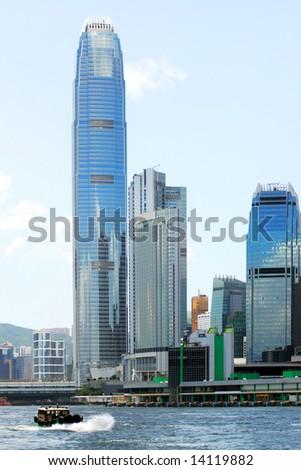 Skyscrapers in Victoria Harbor, Hong Kong - stock photo